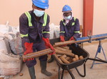 Workers at the briquette plant in Somanya, Eastern Region