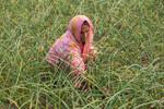 Woman working in an onion farm