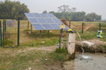Pumping water using electricity generated from solar panels