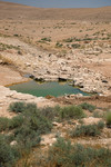 Remains of what used to be water mass in the Mafraq desert in Jordan