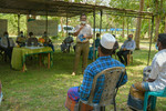 IWMIs Mohammed Aheeyar speaking at the insurance payout ceremony held in the village of Galenbindunuwewa