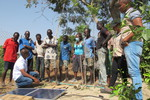 Farmers attend a Pumptech demonstration during a fieldtrip to Gentiiga in Bawku, Ghana.